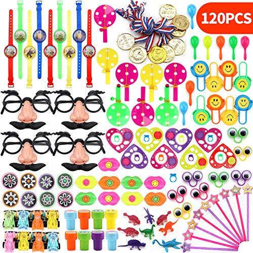 kunmark Juego de 120 piezas de juguetes surtidos para fiesta de niños, fiesta de cumpleaños, recompensas de aula, premios de carnaval, juguetes de relleno de piñata, caja de tesoro para niños y niñas