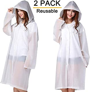 Rain Ponchos, 2 Packs Reusable Ponchos for Adults with Drawstring Hood and Sleeves, Emergency Rain Coat for Theme Park, Hiking, Camping or Traveling