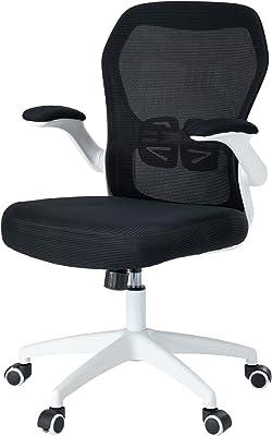 ErgoDesign オフィスチェア デスクチェア イス 跳ね上げ式アームレスト ランバーサポート 通気性 座面昇降 120度ロッキング コンパクト ワークチェア OAチェア(White with Black Mesh)