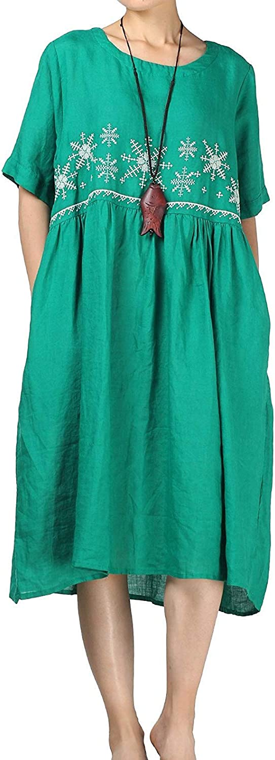 Oudan Women's Embroidery Short Sleeve Round Neck Summer Casual Flared Dress (color   Green, Size   UK 16)