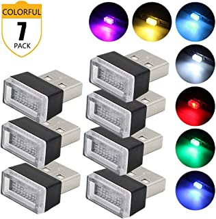 Lipctine USB LED Car Interior Atmosphere Lamp, Night Light Led Decoration Light, Ambient Lighting Kit, Charging for All Cars, Interior Led Lights White Blue Red Yellow Green Pink Ice Blue (7 Colors)
