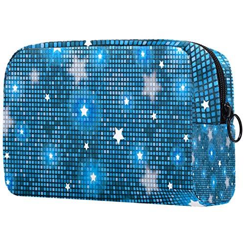 Bolsa de maquillaje bolsa de cosméticos Organizador de viaje Neceser embrague, púrpura azul amarillo hojas tropicales arte