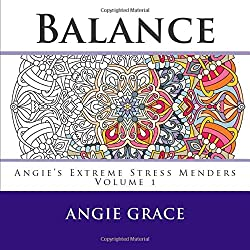 The cover of Balance by Angie Grace, an adult coloring book featuring mandala designs