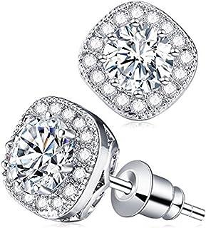 CAT EYE JEWELS S925 Sterling Silver Cubic Zirconia CZ Rhinestone Diamond Stud Earrings for Women Girls