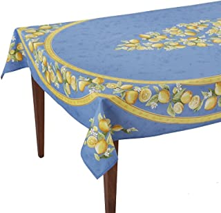 Occitan Imports Citrons Bleu Rectangular French Tablecloth, Coated Cotton, 60 x 96 (6-8 people)