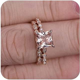 7mm Princess Cut Morganite & Diamond 18k Rose Gold Over Sterling Silver Art Deco Engagement Halo Bridal Ring Set for Women