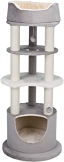 Lavinia Cat Tower with Condo, Scratching Posts, Three Platforms, Dangling Pom-Pom