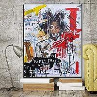 巻き上げられたキャンバスジャン=ミシェルバスキアの絵画キャンバスの家の装飾部屋の壁の芸術の写真絵画20x28インチ(50x70cm)フレームレス