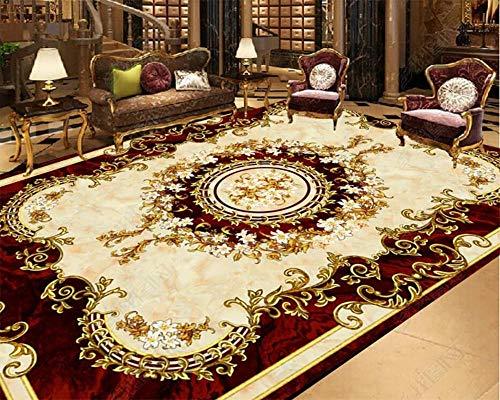 Murales de piso simples Papel tapiz 3D Alfombra de estilo europeo Antideslizante Impermeable Autoadhesivo Dormitorio Azulejos de piso 3D Papel tapiz 3D para baño en casa personalizado-250 * 175Cm Pa