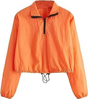 Milumia Women's Long Sleeve Colorblock Drawstring Crop Top Zipper Up Sweatshirt