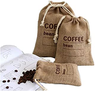 Cereals Jute Woven Bundles Coffee Bean Bags Kitchen Sundries Peas Bags Sacks Date Record Natural Burlap Bags Drawstring Reusable (3, 11.8