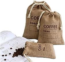 Cereals Jute Woven Bundles Coffee Bean Bags Kitchen Sundries Peas Bags Sacks Date Record Natural Burlap Bags Drawstring Reusable (3, 8.26