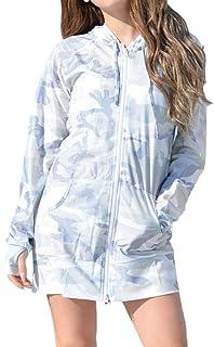 [アウニイ] 着る日焼け止め ロング ラッシュガード UVカット パーカー 長袖 UPF50+ 体型カバー レディース