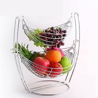 HLMSKD European Style Wrought Iron Fruit Basket Fashion Detachable Double-Layer Fruit Bowl Fruit Storage Basket Fruit Crad...