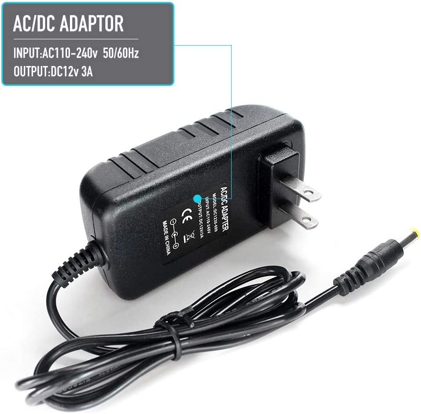 12V 3A Power Adapter 36W AC Adapters 100-240V AC to 12V DC Switching Power Supply with 5.5/2.5mm Wall US Plug for LED Webcam Light and Other 12V 3A Electronic Equipment