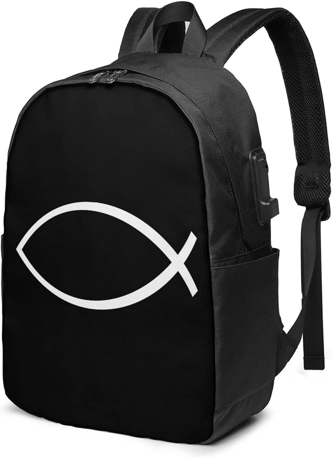 Ichthys Jesus Fish All items free shipping In a popularity Laptop Backpack With 17 Usb Inc Charging Port