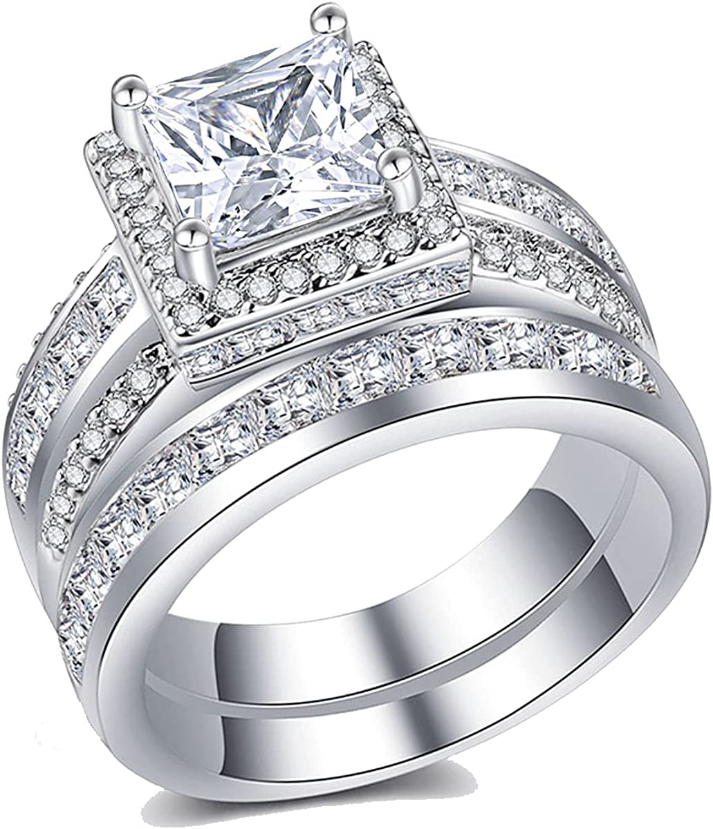 Ahloe Jewelry 3Ct Wedding Rings for Women Princess Engagement Ring Set Bands 18k White Gold Plated Halo Cz Size 6-10