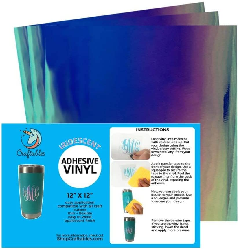 Craftables Blue Limited time trial price Iridescent Craft Vinyl and Silhouette New York Mall Cricut for