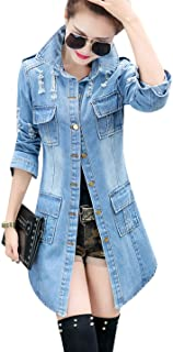 Tanming Women's Casual Lapel Slim Long Sleeve Denim Outercoat Jacket Windbreaker