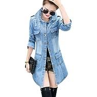 Tanming Women's Casual Lapel... Tanming Women's Casual Lapel Slim Long Sleeve Denim Outercoat Jacket Windbreaker
