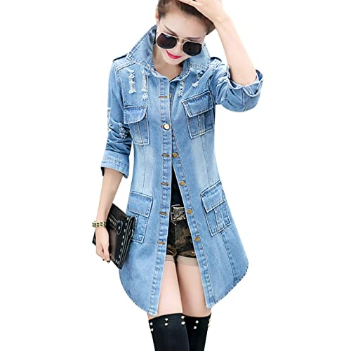 5126e5d2ff64 Tanming Women s Casual Lapel Slim Long Sleeve Denim Outercoat Jacket  Windbreaker