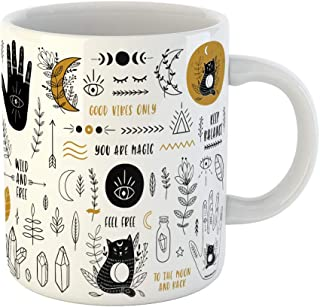 Emvency 11 Ounces Coffee Mug Boho Ethnic Hands Moon Crystals Quartz Floral Plant Cats Eye Magic Yoga Space Black White Ceramic Glossy Tea Cup With Large C-handle