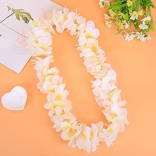 LAYSERI Pack of 4 Mahalo Floral Leis Ruffled Hawaiian Simulated Silk Flower Hula Luau Party Leis Necklace Holiday Wedding Birthday Decorations Island Beach Costumes Hula-Hula Dance Decor(White)