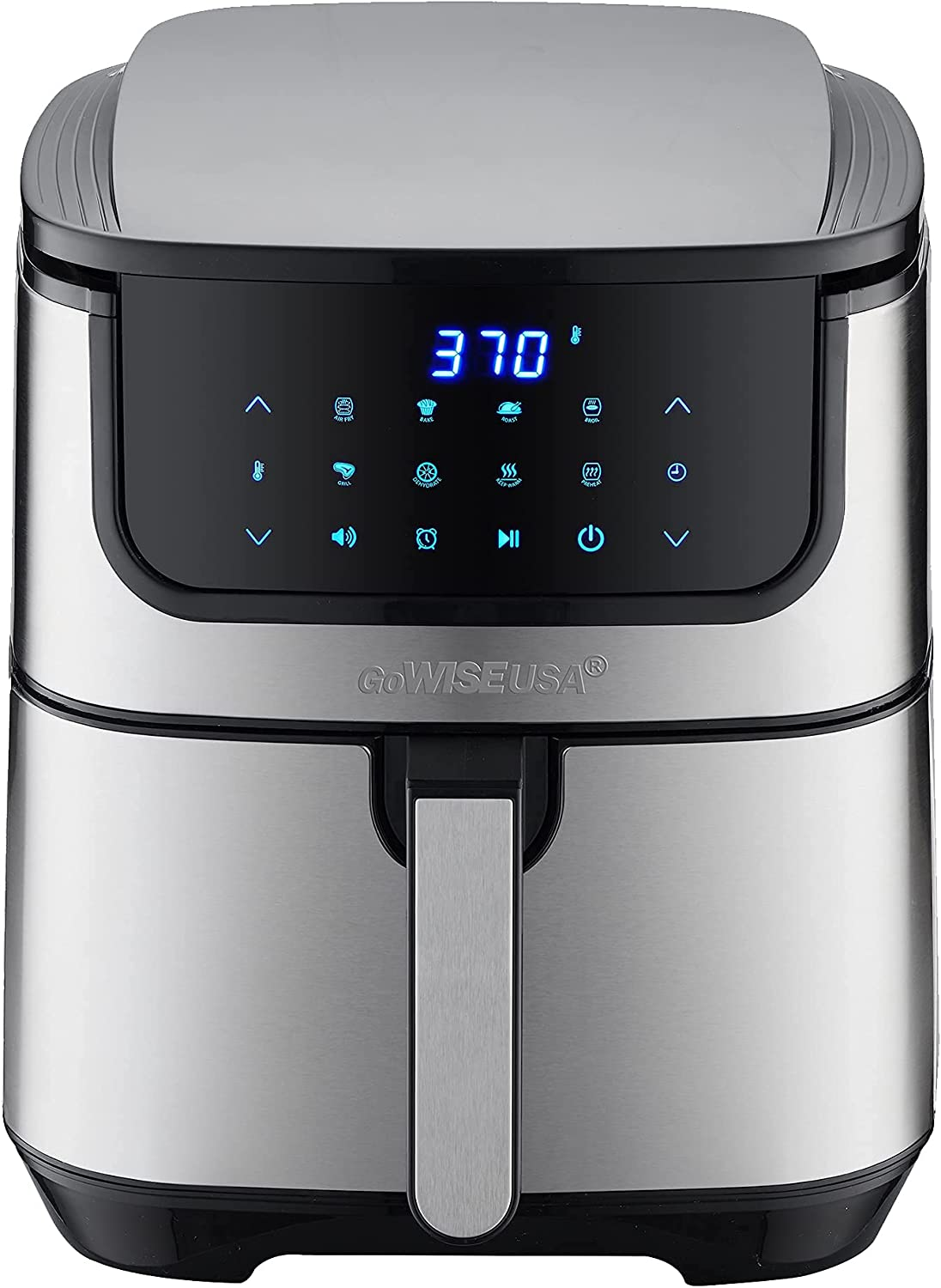 GoWISE USA 7-Quart Air Fryer & Dehydrator Max Steel XL- with Touchscreen Display with Stackable Dehydrating Racks with Preheat & Mute Functions + 100 Recipes (Stainless Steel) (Renewed)