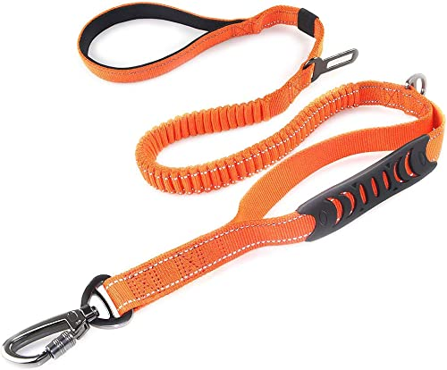 2 in 1 Dog Lead & Car Seat Belt, 150cm Reflective Anti-Shock Bungee Dog Leash with 2 Handles for Medium/Large Dogs - ...