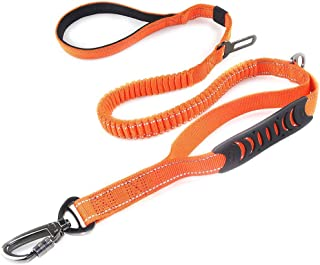 2 in 1 Dog Lead & Car Seat Belt, 150cm Reflective Anti-Shock Bungee Dog Leash with 2 Handles for Medium/Large Dogs - Pet C...