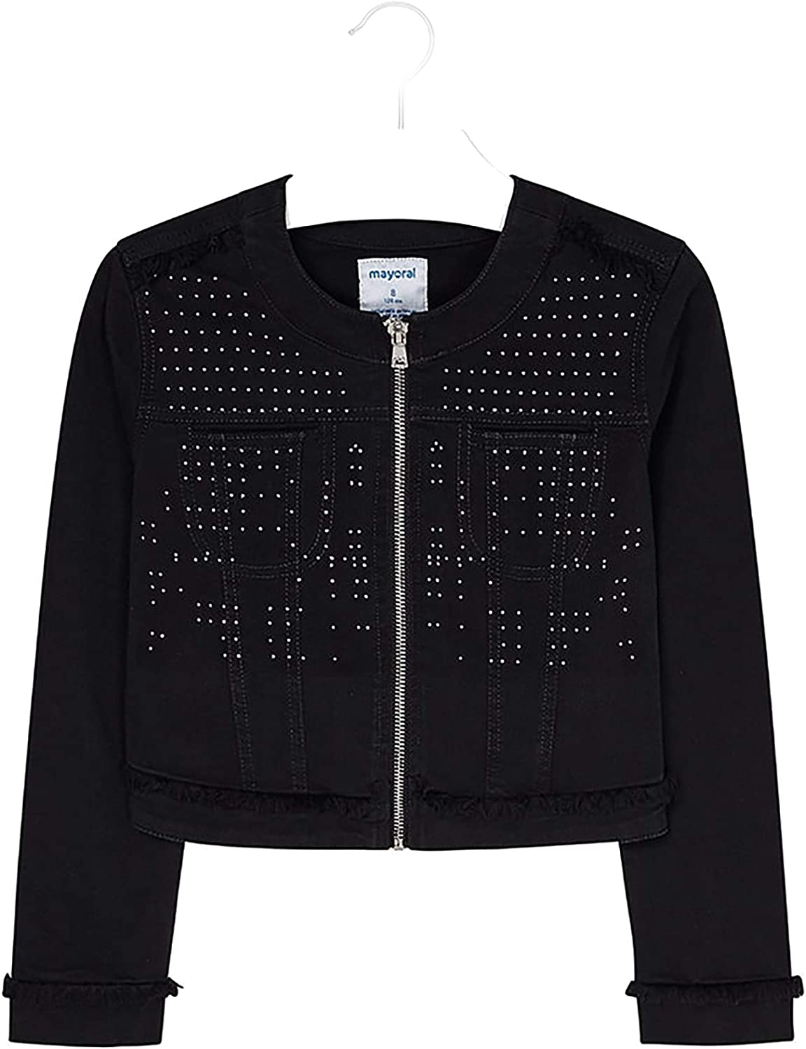 Mayoral - Twill Jacket Applique Girls Black 6408 for Spring new work one after another Max 77% OFF