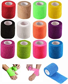 12 Pack Self Adhesive Bandage Rolls - Vet Wrap for Pets,  Stretch Self-Adherent Tape for Athletic,  Sports,  Wrist and Ankle(2 Inches x 5 Yards Each,  12 Colors)