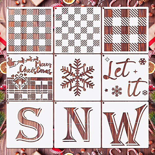 9 Pieces Buffalo Plaid Stencils Kit Reusable Christmas Stencils Snowflake Stencil Template Let It Snow Stencil with Open Ring for Painting on Wood Paper Fabric Winter Christmas
