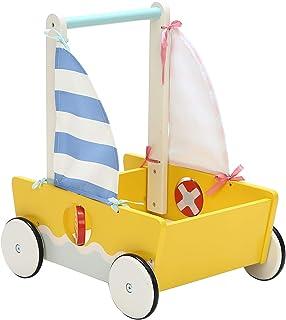 Andador de Madera, Andador Bebe Multifuncional, Velero Amarillo Andador para 1-3 Años, Andador Actividades Bebe/Andador Bebe de Madera/Andador Bebé/Andador Bebe Madera