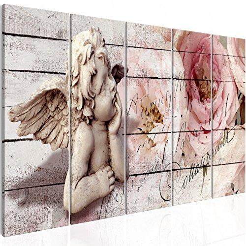 murando - Bilder Engel 150x60 cm Vlies Leinwandbild 5 TLG Kunstdruck modern Wandbilder XXL Wanddekoration Design Wand Bild - Blumen Holz Optik h-C-0060-b-m