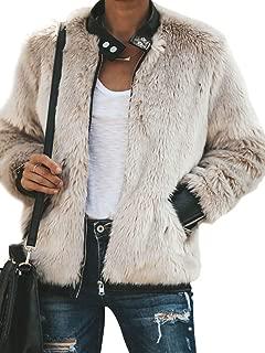 Women's Faux Fur Long Sleeve Cozy Fit Jacket Zip Up Warm Winter Outwear