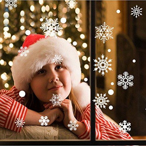 FENICAL Finestra di fiocco di neve di 48pcs aderisce senza colla PVC Wall Stickers per Windows bicchieri Natale decorazioni Wall Decor