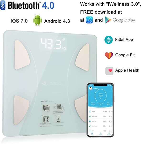 Bluetooth Body Fat Scale Bluetooth Smart BMI Scale Wireless Digital Weight Scale Body Composition Analyzer With Smartphone App For Body Weight Fat Water Bone Mass BMR Muscle Mass White