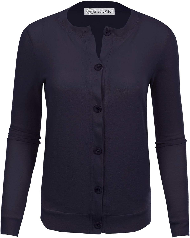 BIADANI Women Button Down Long Popular product half Soft V-Neck Cardigan Sweat Sleeve