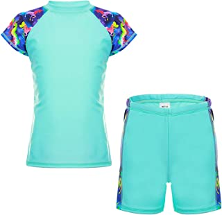 DAYU Unisex Kids Rashguard مجموعه دو قطعه لباس شنا UPF 50+ UV 4-14 سال