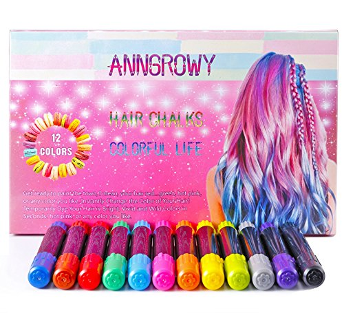 12 Piece Hair Chalk for Girls Kids Face Paint Temporary Hair Chalks pens for Any Age(3) Hair Color for Halloween Makeup Birthday Present Gifts for Girls Kids Hair Chalk Salon Washable Hair Dye