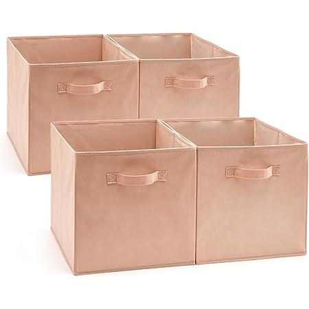 EZOWare Cube de Rangement, Boîtes de Rangement, Carré, Pliable, Rangement Tiroir, Pack de 4, pour Linge, Jouets, Vêtement, Disques DVD etc - (33 x 38 x33 cm) (Rose)