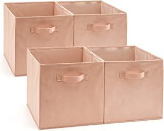 EZOWare Set of 4 Foldable Fabric Basket Bins, Collapsible Storage Cube for Nursery Home and Office (Dogwood Pink)