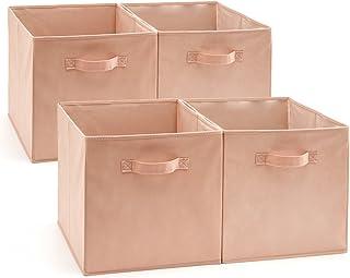 EZOWare Cube de Rangement, Boîtes de Rangement, Carré, Pliable, Rangement Tiroir, Pack de 4, pour Linge, Jouets, Vêtement,...
