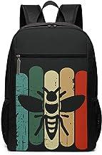 Bee Retro Casual Mochila Ligera para portátil de Viaje Wide Open Back to School Mochila para Hombres y Mujeres