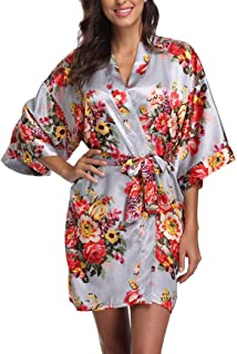 1cae3c1e7c Women s Floral Satin Short Robe Bathrobe Bridesmaid Gift Bridal Party  Wedding Favor
