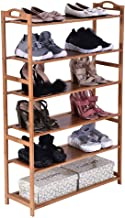 $25 » Bamboo Wood Shoe Rack 6-Tier 12-16 Pairs Entryway Standing Shoe Shelf Storage Organizer for Kitchen Living Room Closet - 27.2 x 9.8 x 41.7in(Solid Wood Panel)