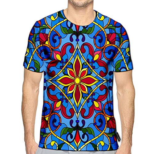 3D Printed T-Shirts Stained Glass Style Square Mirror Image with Floral Ornaments and Swirls Short Sleeve Tops Teesf