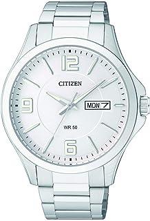 ساعة سيتيزن رجال بقرص فضي وبسوار من الفولاذ المقاوم للصدأ- BF2001-55A