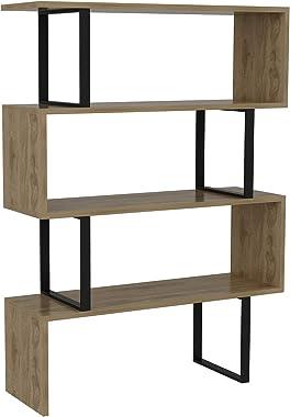 Decorotika Adriana 4-Shelf Geometric Modern Industrial Etagere Bookcase Bookshelf Shelving Unit (Black and Oak)